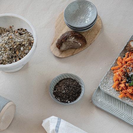 Debossed Stoneware Platter, Reactive Glaze, Grey (Each One Will Vary)