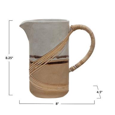36 oz. Stoneware Pitcher w/Rattan Wrapped Handle, Reactive Glaze, White & Brown