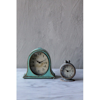 Grey Pewter Mantel Clock with Birds
