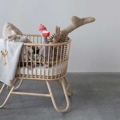 Hand-Woven Rattan Doll Bassinet with Cushion