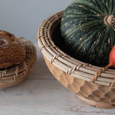 Hand-Carved Mango Wood & Woven Arurog Bowl