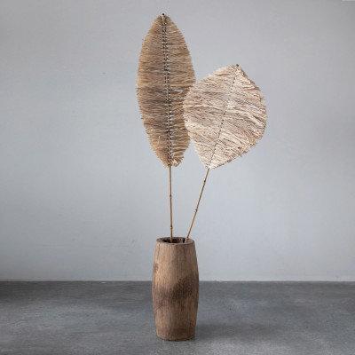 "60""H Handmade Natural Raffia Anahaw Leaf Shape"