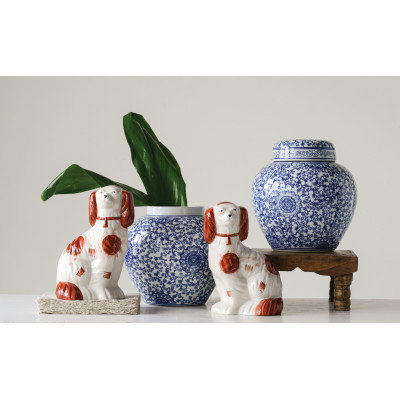 Blue & White Stoneware Ginger Jar with Lid