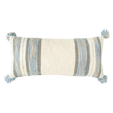 Blue, Grey & Cream Striped Cotton Blend Lumbar Pillow with Tassels