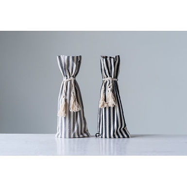 Grey Cotton Striped Wine Bag with Tassels (Set of 2 Colors)
