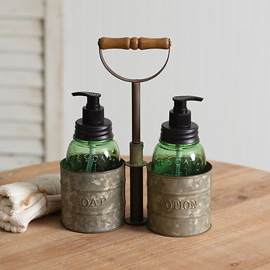 Galvanized Soap and Lotion Dispenser Caddy with Wood Handle