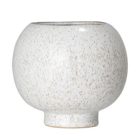 Ball Shaped White Speckled Stoneware Flower Pot