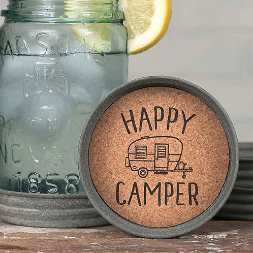Mason Jar Lid Coaster - Happy Camper - Box of 4
