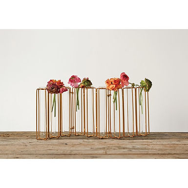 9 Test Tube Vases in a Single Gold Metal Stand