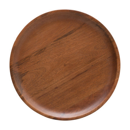 Hand-Carved Mango Wood Cake Stand, Walnut Finish (Each One Will Vary)