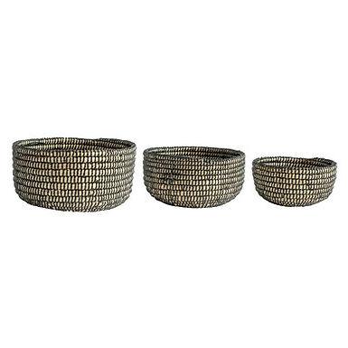 Handwoven Black & Beige Grass Baskets (Set of 3 Sizes)