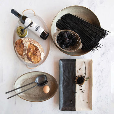 Hand-Forged Metal Salad Servers in Drawstring Bag, Pewter Finish, Set of 2