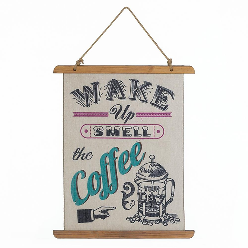Coffee Perk Up Linen Wall Art