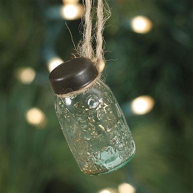 Glass Mini Mason Jar Hanging Christmas Ornament - Box of 6
