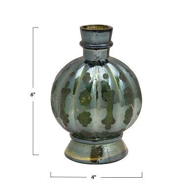 Embossed Glass Vase, Green Iridescent Finish
