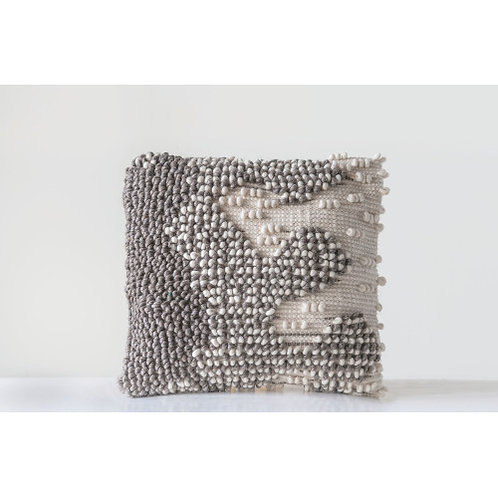 Hand Woven Grey & White Square Woven Wool Pillow
