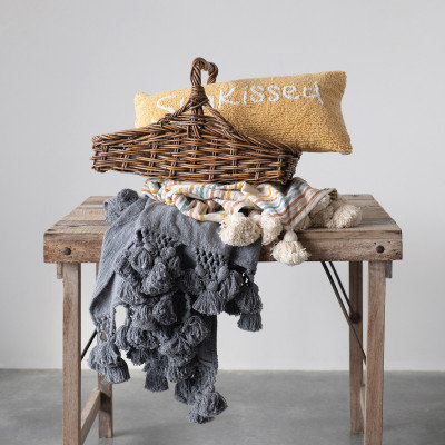 Cotton Blend Throw with Crocheted Tassels, Dusty Blue