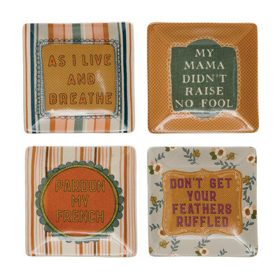 """5"""" Square Stoneware Plate w/ Saying, 4 Styles �"""