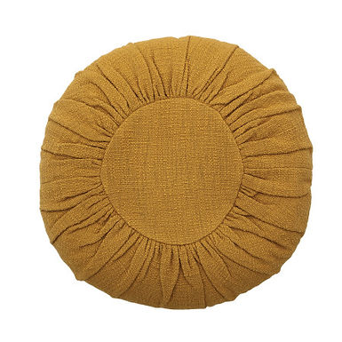 """18"""" Round Cotton Pillow with Gathered Design"""