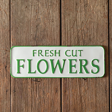 Fresh Cut Flowers Metal Wall Sign