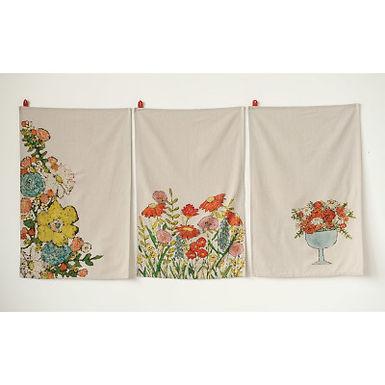 Cotton Tea Towels with Floral Images (Set of 3 Designs)
