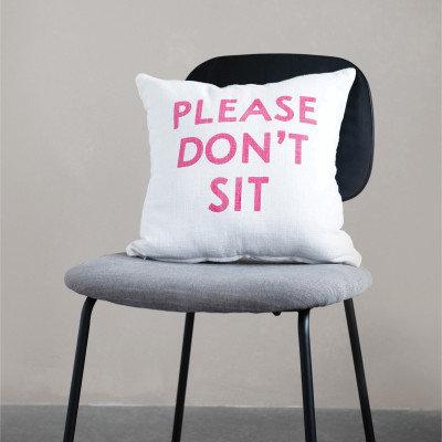 "Cotton Slub Pillow ""Please Don�t Sit"", Pink & White"