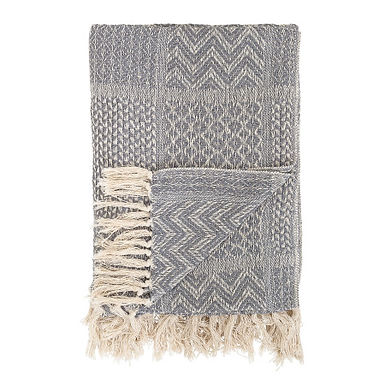 Grey Cotton Blend Knit Throw with Fringe