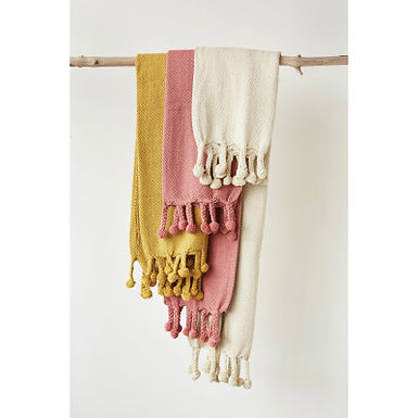 Gold Cotton Throw with Pom Poms
