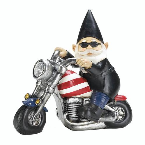 Biker Gnome Solar Statue