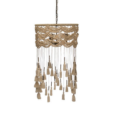 3-Light Cotton, Metal & Draped Wood Bead Pendant Light w/Long Tassels