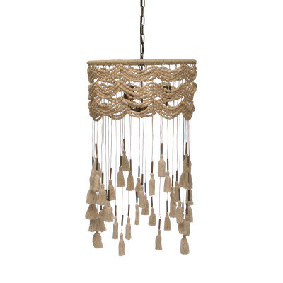 3-Light Cotton, Metal & Draped Wood Bead Pendant Light w/Long Tassels