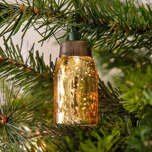 Glass Mini Mason Jar Ornament - Mercury Gold - Box of 6