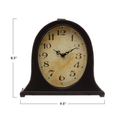 Metal Mantel Clock, Black (Requires 1-AA Battery)