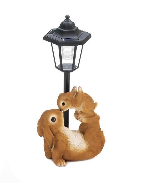 Adorable Mom & Baby Rabbit Solar Lamp