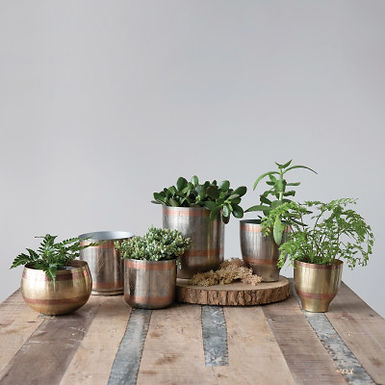 "Engraved Metal Planters, Nickel Finish w/ Copper, qty 3 (Holds 6"", 5"" & 4"" Pots)"