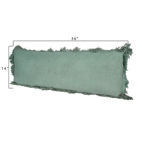 Green Rectangle Pillow with Fringe