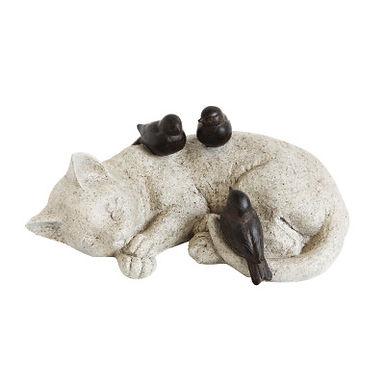 Cat Sleeping with Birds Resin Figurine