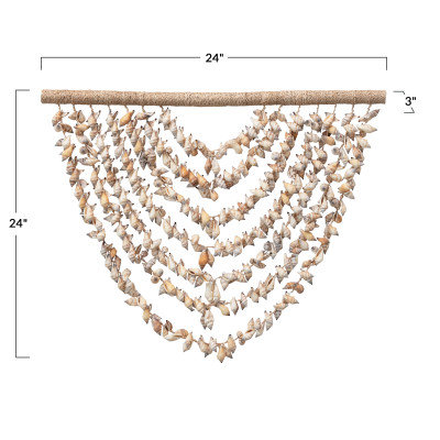 Handmade Shell Wall Hanging with Wood Hanger