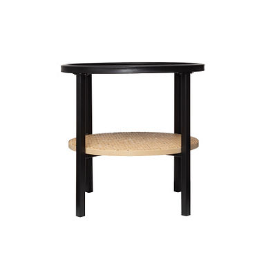 """17.75"""" Round Metal Accent Table with Tray-Style Top & Handwoven Bamboo Shelf"""