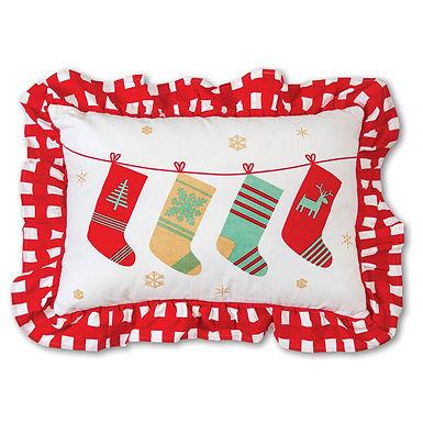 Holiday Stockings Cotton Throw Pillow