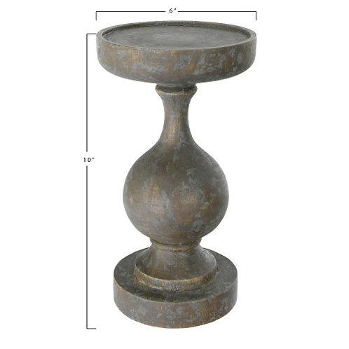 """10""""H Mango Wood Candleholder (Holds 5"""" Pillar Candle)"""