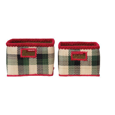 Hand-Woven Seagrass Baskets w/Check Pattern