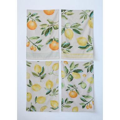 Cotton Citrus Fruit Tea Towels (Set of 4 Designs)