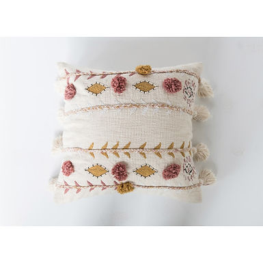 Embroidered White Cotton Pillow w/Tassels and Accented w/Mustard & Rose