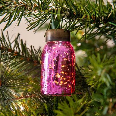 Glass Mini Mason Jar Ornament - Mercury Pink - Box of 6