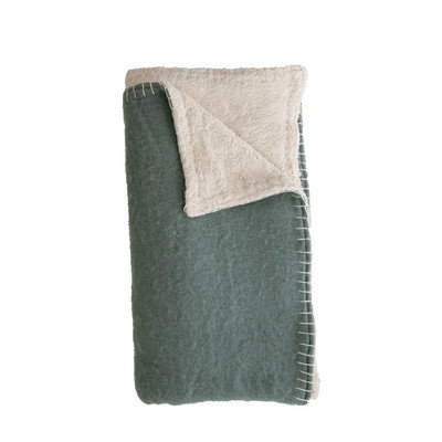 Blanket Stitch Blue and Cream Woven Acrylic Sherpa Throw