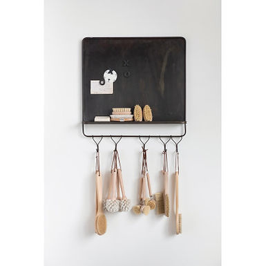"26""H Metal Magnet Board & Wall Shelf with 5 Hooks"