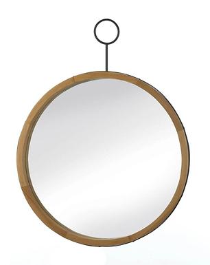 Eva Round Wood Mirror With Hook