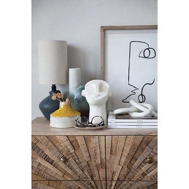"""11""""H Round Stoneware Vase with Chimney, Pedestal Base & Reactive Glaze Finish"""