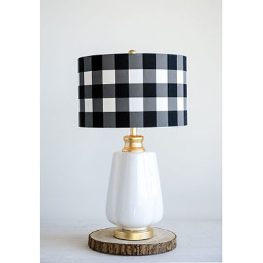 Ceramic Lamp with Black & White Gingham Linen Shade